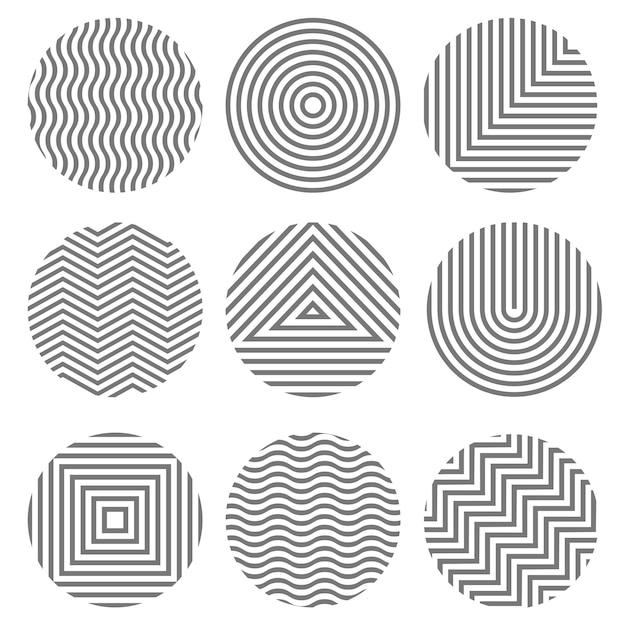 Набор монохромных геометрических текстур в форме кругов Premium векторы