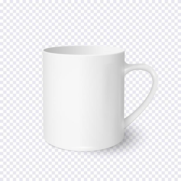 透明な背景に分離された現実的な白いコーヒーカップ Premiumベクター