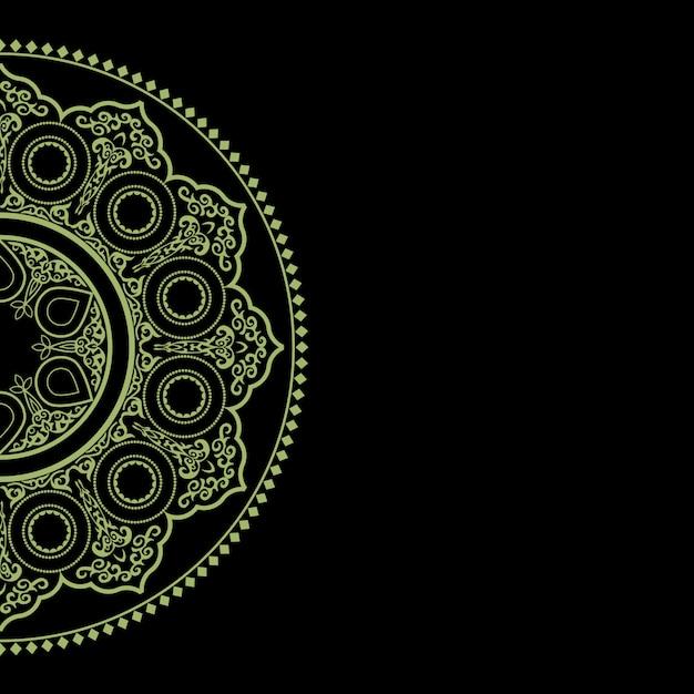 繊細な緑の丸い飾り - アラビア語、イスラム、東スタイルの黒の背景 Premiumベクター