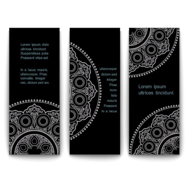 Набор декоративных вертикальных шаблонов баннеров в восточном стиле Premium векторы