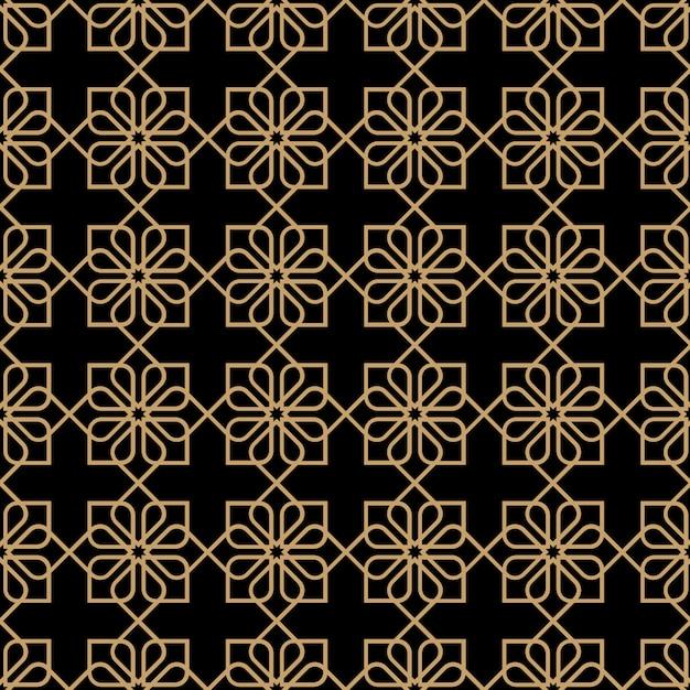 オリエンタルスタイルの幾何学的な暗いシームレス花柄 Premiumベクター