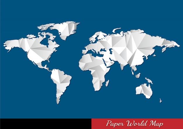 Карта мира бумаги в стиле оригами Premium векторы
