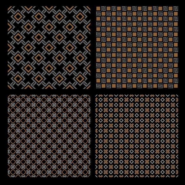 Набор из четырех геометрических бесшовных узоров - кельтский стиль Premium векторы