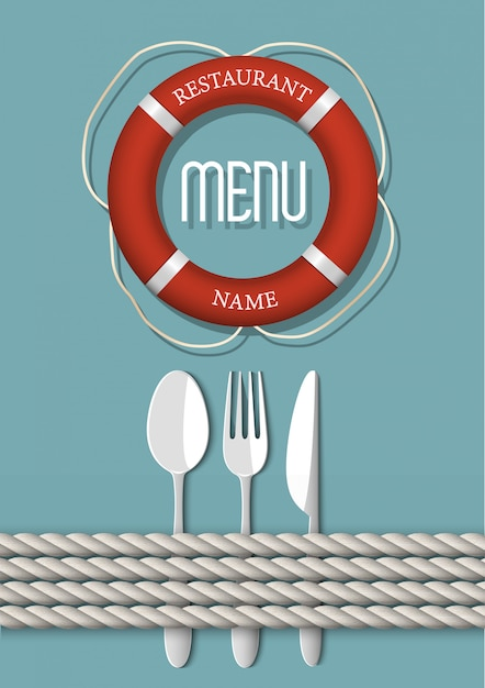 シーフードレストランのレトロなメニューデザイン Premiumベクター