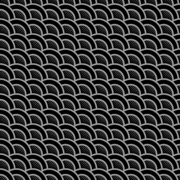 Геометрический полосатый черный бесшовный узор со стилизованными волнами Premium векторы