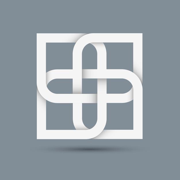 Стилизованный абстрактный белый значок для дизайна Premium векторы