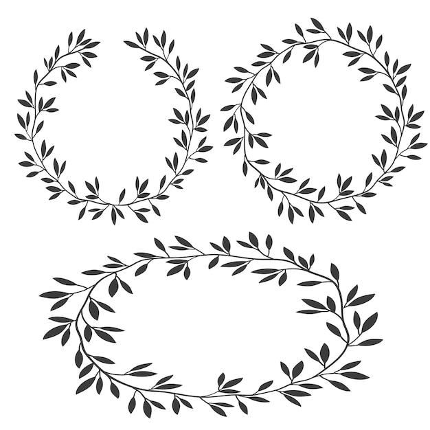 フレーム、シルエットビンテージ花のフレーム、月桂樹の花輪のセット Premiumベクター