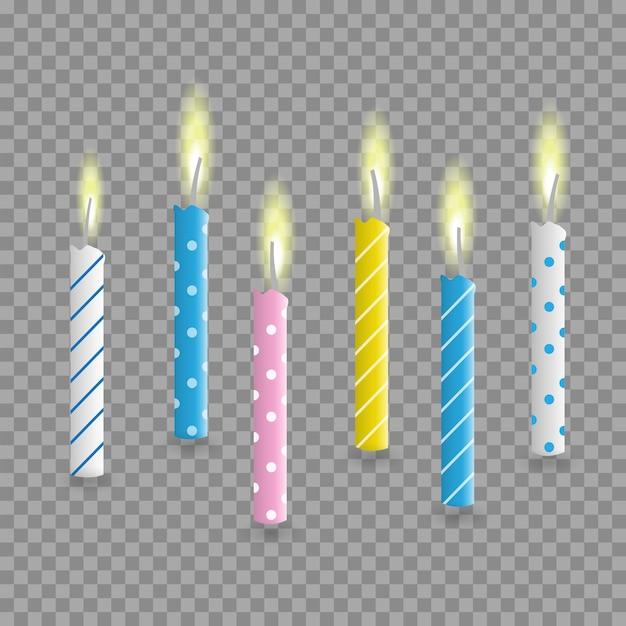誕生日ケーキキャンドル現実的なセット Premiumベクター