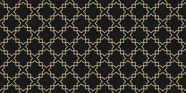 Арабский бесшовная текстура, черно-золотая текстура Premium векторы