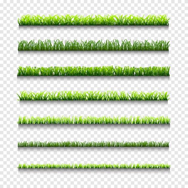 草、緑の草の罫線の種類 Premiumベクター