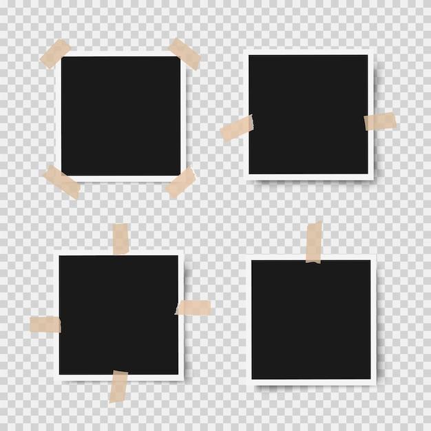 Реалистичные фоторамки с тенями с помощью клейкой ленты Premium векторы