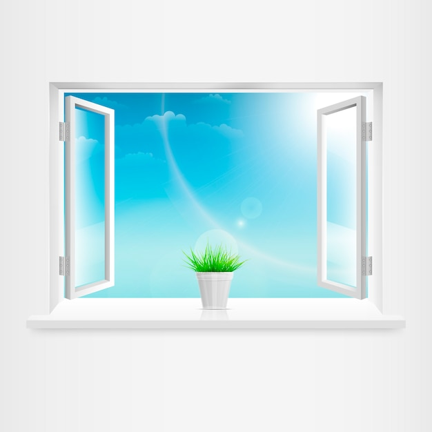 Открытое белое окно с цветочным горшком Premium векторы