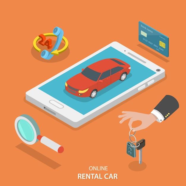 オンラインレンタカーサービスベクトルの概念。 Premiumベクター