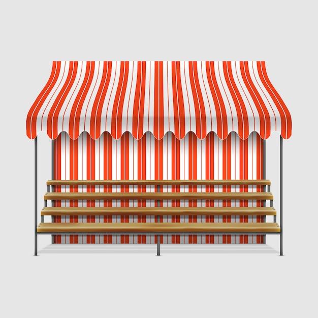 木製の棚と露店 Premiumベクター