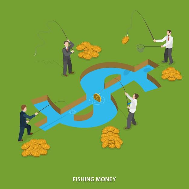 Рыбалка деньги плоский изометрические вектор концепции. Premium векторы