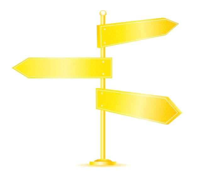 黄金の方向道路標識 Premiumベクター