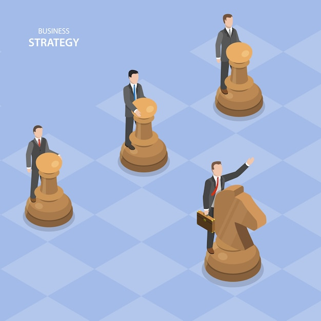 Бизнес стратегия изометрической плоский векторный концепт. Premium векторы
