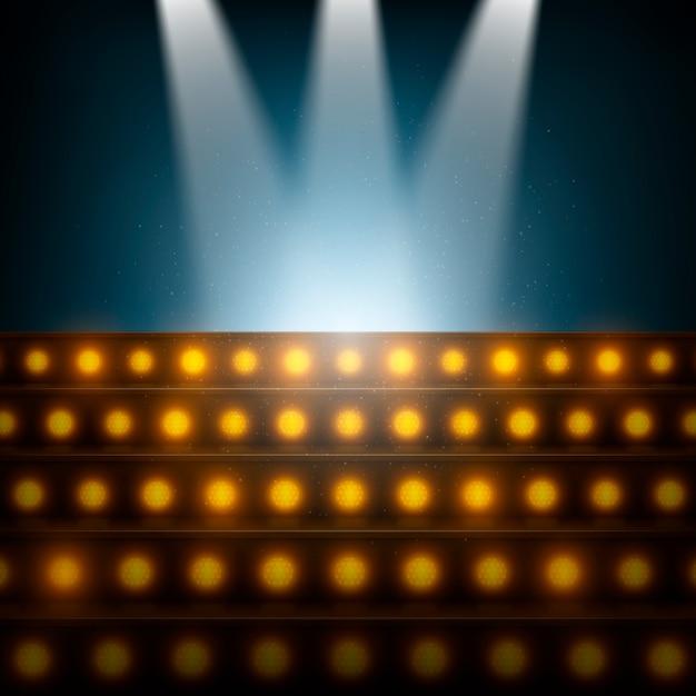 Лестница с прожекторами на освещенной сцене. Premium векторы