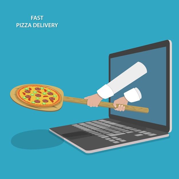 Быстрая доставка пиццы. Premium векторы