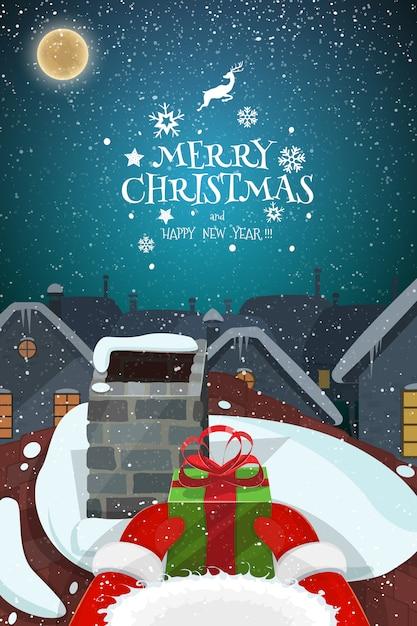 Снежный волшебный рождественский вечер пейзаж иллюстрации. Premium векторы