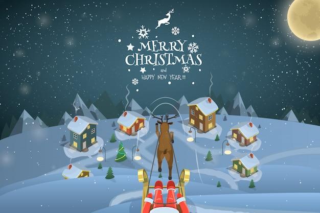 Рождество вечерний пейзаж иллюстрация. санта летит над виллиджем. Premium векторы
