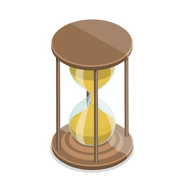 Изометрические вектор плоский концепция песочных часов, изолированных на белом фоне Premium векторы