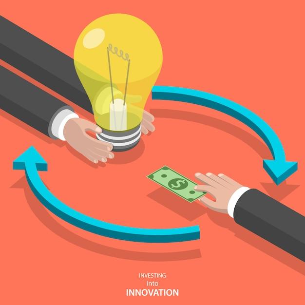 Инвестирование в инновации плоский изометрические вектор концепции. Premium векторы