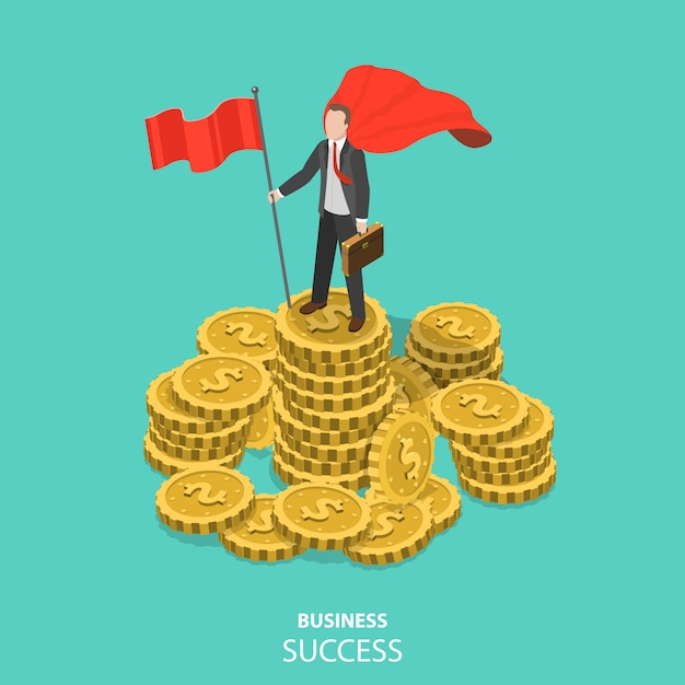 ビジネス成功フラット等尺性ベクトル概念。 Premiumベクター