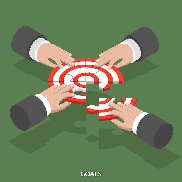 チーム目標等尺性フラットベクトル概念。 Premiumベクター
