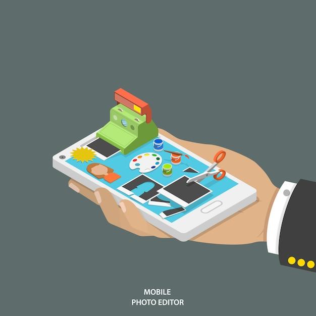 携帯フォトエディターフラット等尺性ベクトルの概念。 Premiumベクター