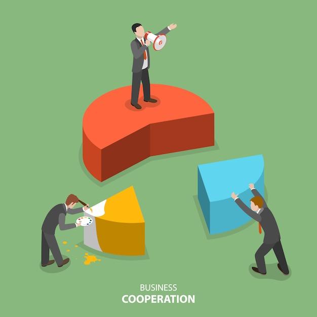Бизнес сотрудничество изометрические вектор плоский концепции. Premium векторы