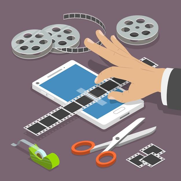 モバイルビデオエディターフラットベクトル等尺性概念。 Premiumベクター