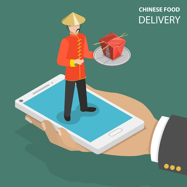 中華料理オンライン注文フラット等尺性低ポリベクトルの概念。 Premiumベクター