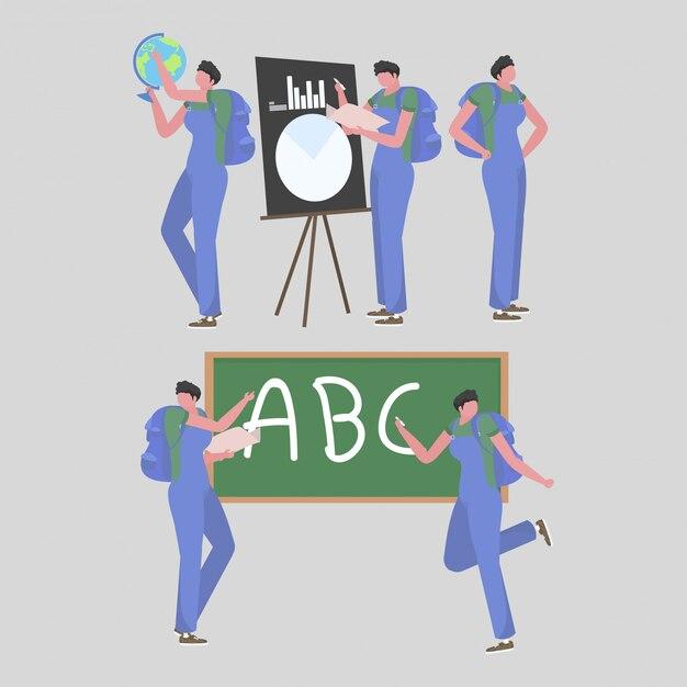 学校での男性教師の活動のコレクション Premiumベクター