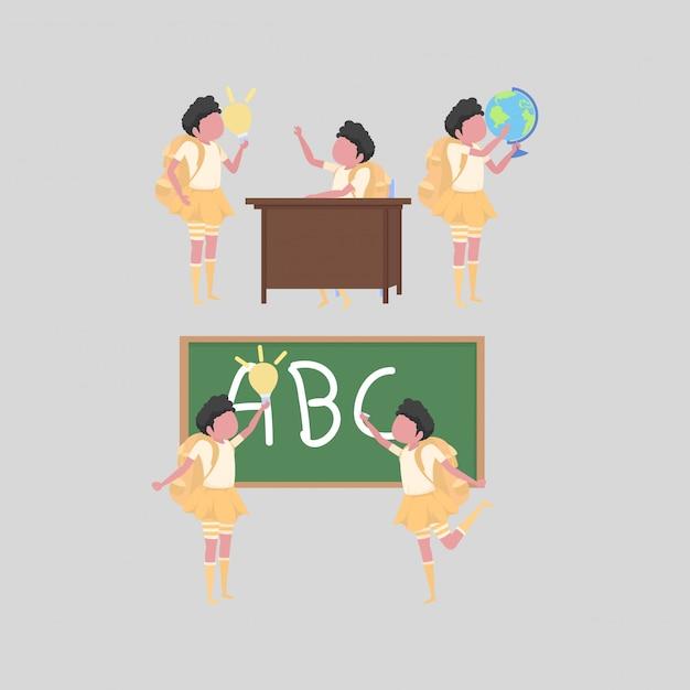 学校での女子学生活動のコレクション Premiumベクター