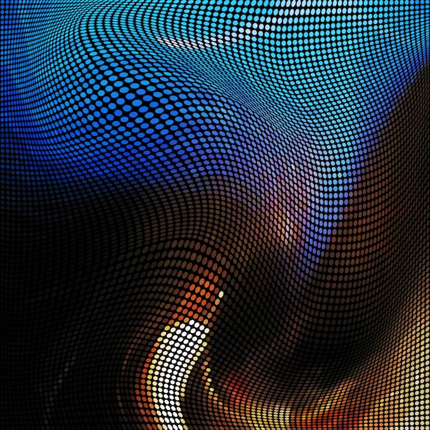 Абстрактный фон с эффектом сбоев, искажение текстуры, случайные цветные эллипсы Premium векторы