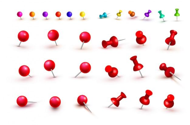 様々な赤とカラフルな押しピンのコレクション。画鋲。上面図。正面図。閉じる。ベクトルイラスト孤立した Premiumベクター