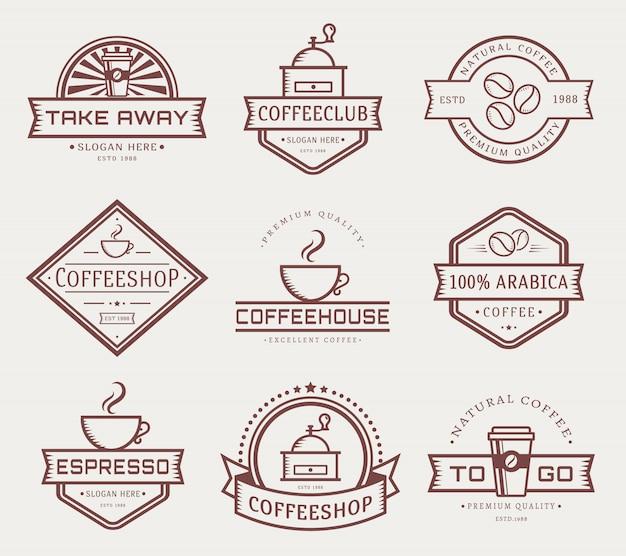 Набор векторных логотип кофе шаблон Premium векторы