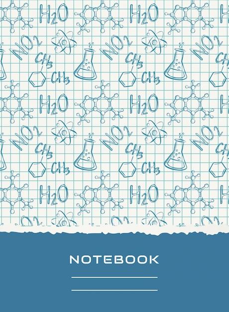 ノートブックカバーデザイン。化学のベクトルの背景。 Premiumベクター