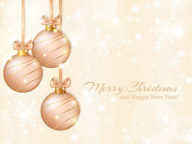 クリスマスボールとグリーティングカード。図。 Premiumベクター