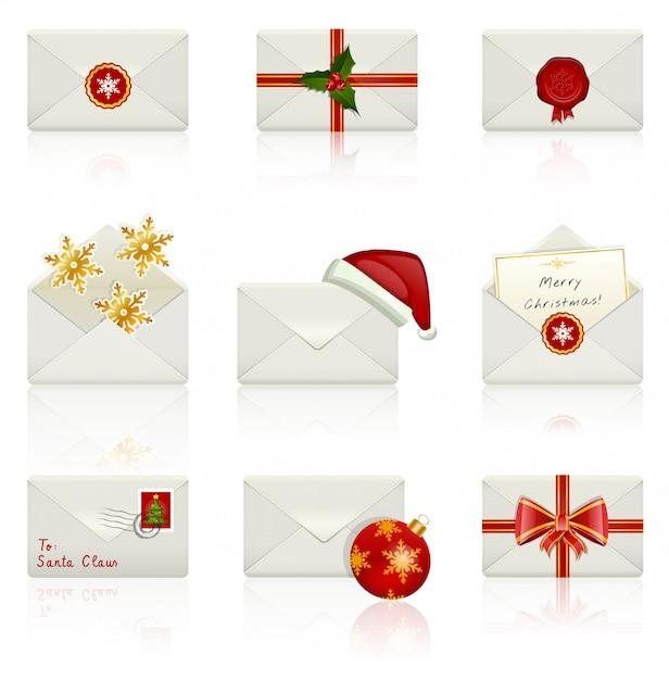 Набор иконок: рождественские конверты. Premium векторы