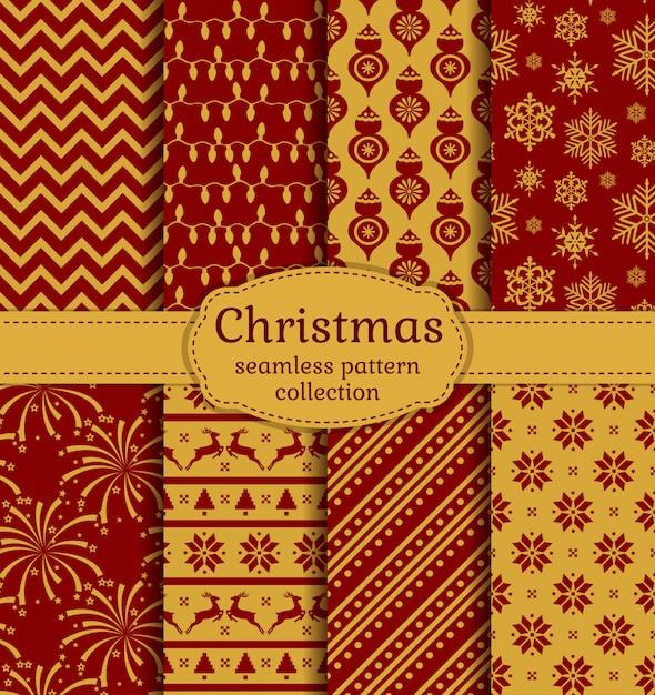 クリスマスのシームレスなパターン。セットする。 Premiumベクター