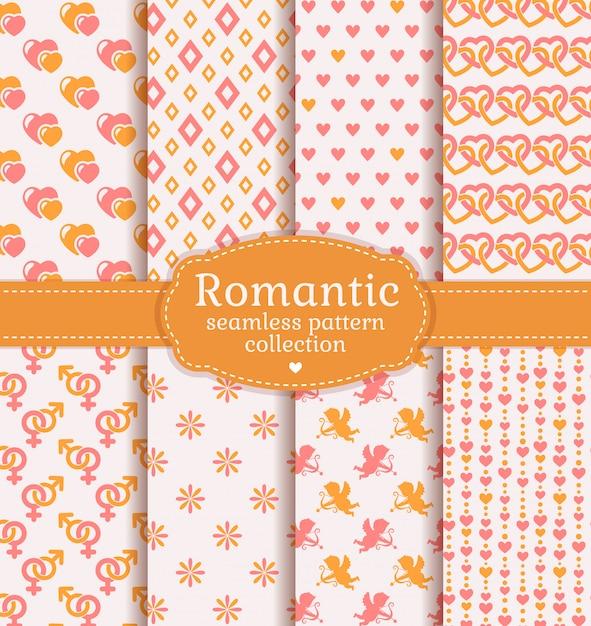 愛とロマンチックなシームレスパターン。ベクトルを設定します。 Premiumベクター
