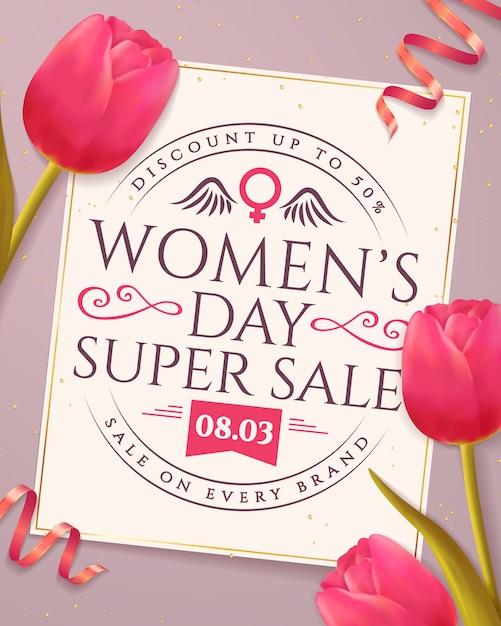 女性の日セールのバナー。 Premiumベクター