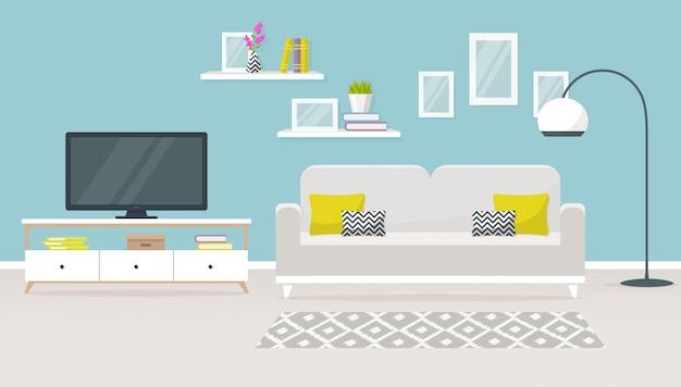 Интерьер гостиной иллюстрации Premium векторы