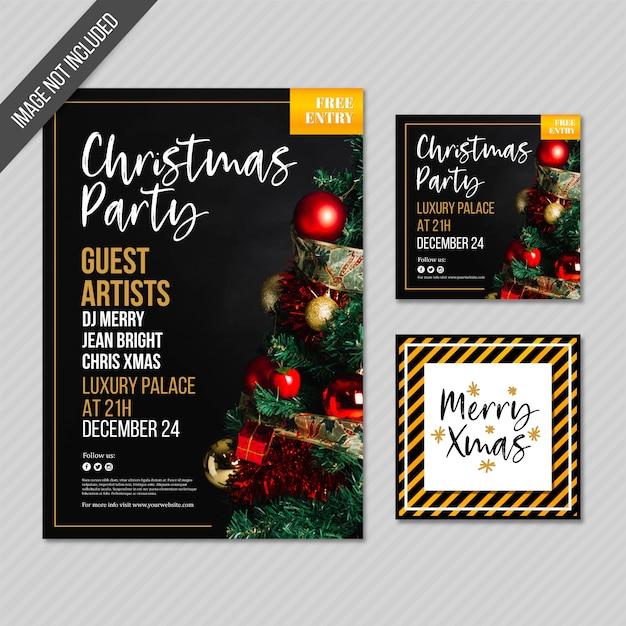 クリスマスパーティーのカードとポスター 無料ベクター