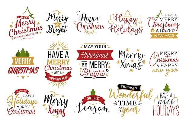 Набор рождественской типографии Бесплатные векторы