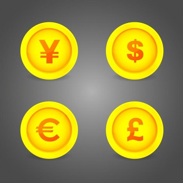 Монеты кнопки символы Бесплатные векторы