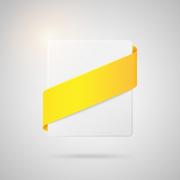 黄色いリボン付きスクエアバッジ 無料ベクター
