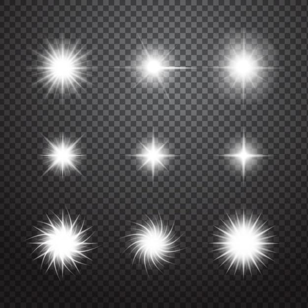 セット装飾的な輝き 無料ベクター